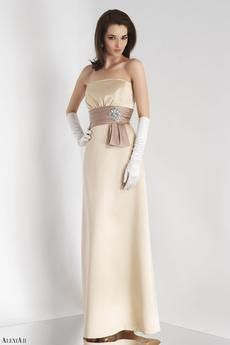Cream stain floor length dress with pleated bodice.  Bronze satin pleated waistband adorned with rhinestone and bow detail.
