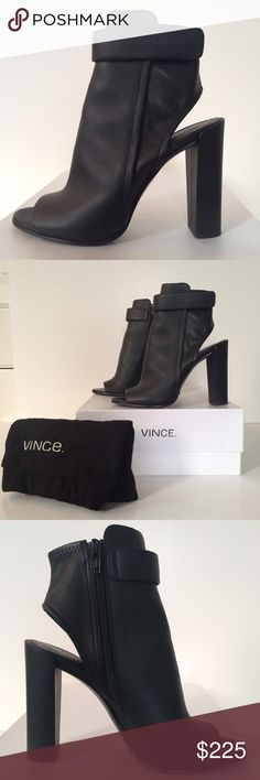 """Vince peep toe shoe-ties Tres chic, this sexy shoes speak for themselves.  Black supple leather.  4.25"""" heel.  Original box and dust bag.  Barely worn. Vince Shoes Ankle Boots & Booties"""