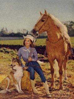 Dale Evans, with Bullet the Dog & Buttermilk! Dale's birth name was Lucille Wood Smith. She was born on October 31, 1912 in Uvalde. At the age of 35, Dale married Roy Rogers in 1947. Evans and Rogers together had one child, Robin, who died before her second birthday, and adopted four others: Mimi, Dodie, Sandy, and Debbie. They were married for 51 years until Rogers' death in 1998. Evans died of congestive heart failure on February 7, 2001 at the age of 88.