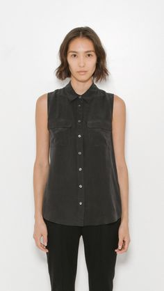 Equipment Sleeveless Slim Silk Signature Shirt in True Black   The Dreslyn