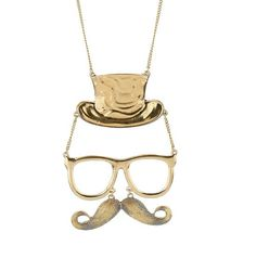 Mr hat glasses mustache necklace fun gift for him par dollarjewelry, $3,99