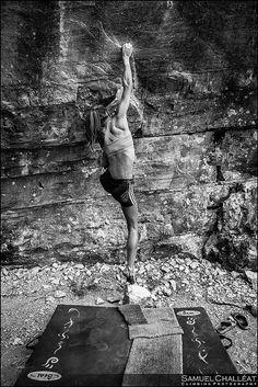 escalade falaise, départ, femme, bouldering