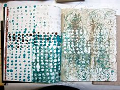 sophie munns  seed motif journal : printing on journal pages #lino_prints