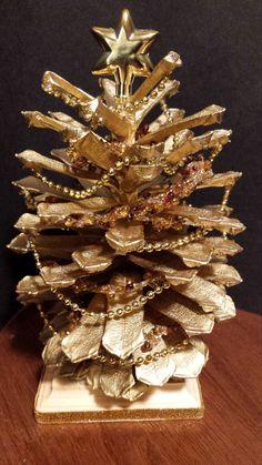 Handpainted Pine Cone Christmas Tree by SeaShellsByCarrie on Etsy