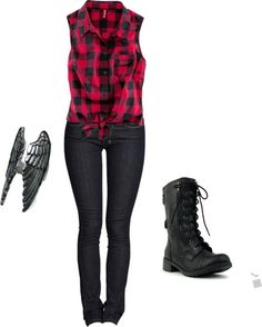 A fashion look from October 2012 featuring red shirt, skinny jeans and black combat boots. Browse and shop related looks. Grunge Outfits, Emo Outfits, Casual Outfits, Summer Outfits, Fashion Outfits, Punk Rock Outfits, Rock Style, My Style, Punk Pants
