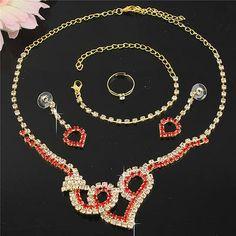 Red Austrian Crystal Necklace Bracelet Earring Rings