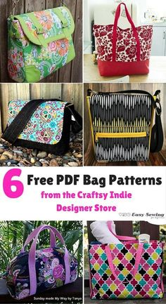 6 Free PDF Bag Patterns from the Craftsy Indie Designer Store - Easy Sewing For Beginners : 6 Free PDF Bag Patterns from the Craftsy Indie Designer Store Handbag Patterns, Bag Patterns To Sew, Sewing Patterns Free, Free Tote Bag Patterns, Quilted Purse Patterns, Messenger Bag Patterns, Clothes Patterns, Messenger Bags, Sewing Clothes