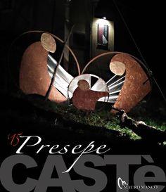 Presepe realizzato con cerchi di vecchie botti per vino e legno da Mauro Manco e Marco Natale a Casté (Riccó del Golfo di Spezia )