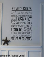 Family Rules Wall Decal Medium Size