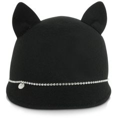 Armani Jeans Women's Hats Black Felt Wool Women's Hat (264 CAD) ❤ liked on Polyvore featuring accessories, hats, wool hat, cat ear hat, black brim hat, black hat and round brim hat