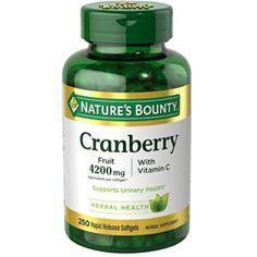 Nature's Bounty Herbal Health Cranberry Rapid Release Softgels with Vitamin C, 4200 mg, 250 Ct Cranberry Pills, Cranberry Extract, Cranberry Juice, Fish Oil Vitamins, Liquid Vitamins, Nutrition Plans, Good Fats, Vitamin C