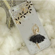 Wedding gift:United Electek® Handmade Elegant 3D Bling Clear Crystal Flower and Black Ballet Girl Dancer Case Cover for iPhone 5 - Comes with Pink Gift Box Package and Protective Velvet Pouch