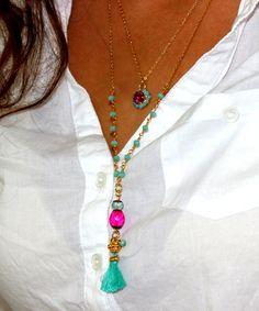 Tassel Necklace Bohemian JewelryY Necklace Holiday por inbalmishan