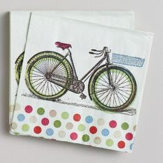 One of my favorite discoveries at WorldMarket.com: Bicycle Beverage Napkins, 16-Count