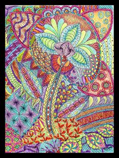 Flower Doodle by fluteforthought. Colored Pencil and Pen and Ink.