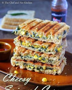 Grilled Corn and spinach sandwich recipe with step by step photos .I always look… Grilled Corn and spinach sandwich recipe with step by step photos .I always look for various sandwich recipes as they are filling and ca… Grill Sandwich, Corn Sandwich, Grilled Sandwich Recipe, Vegetarian Sandwich Recipes, Vegetarian Snacks, Snack Recipes, Cooking Recipes, Diet Recipes, Grilled Recipes