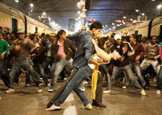 "Slumdog Millionaire - A still from the ""Jai Ho!"" Bollywood dance song with Dev Patel and Freida Pinto Freida Pinto, Loving You Movie, Love Movie, Movie Tv, Best Romantic Movies, Dev Patel, Bon Film, Dance Routines, Dance Choreography"