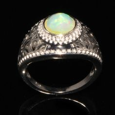 Natural Ethiopian Opal Ring - Opal Jewelry - Opal Gemstone Ring - October Birthstone Ring - Multi Color Opal Ring - 925 Silver Ring