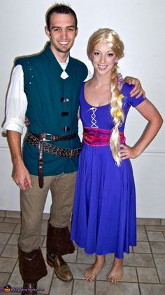 Rapunzel and Flynn Rider DIY Costumes - 2013 Halloween Costume Contest. I have my rapunzel costume, now I just have to make Mikes Flynn costume! Costume Halloween, Photo Halloween, Cute Costumes, Disney Costumes, Disney Halloween, Costume Ideas, Halloween 2017, Halloween Ideas, Halloween Decorations