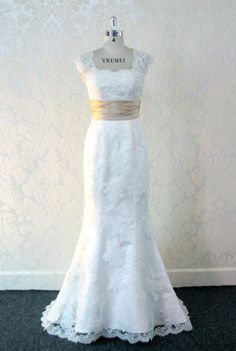 Gorgeous Lace Wedding Dress Trumpet Style by WeddingDressFantasy bridal gown