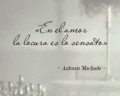 Palabras de Amor y de Aliento ❤ En el amor la locura es lo sensato. Antonio Machado