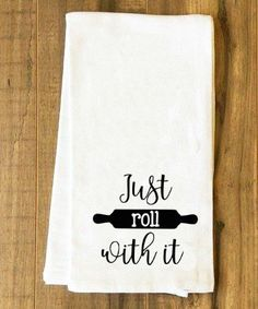 Just Roll With It Tea Towel Farmhouse Flour Sack Baking Baker Cookies SVG and DXF EPS Cut File • Cricut • Silhouette Vector • Calligraphy • Download File • Cricut • Silhouette Cricut projects - cricut ideas - cricut explore - silhouette cameo By Kristin Amanda Designs