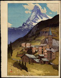 Hiroshi Yoshida, Matterhorn (Day), woodcut