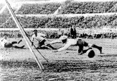 Uruguay score during the World Cup Final against Argentina, in Montevideo, Uruguay, July 30, 1930. Uruguay defeated Argentina by four goals to two. (AP Photo)