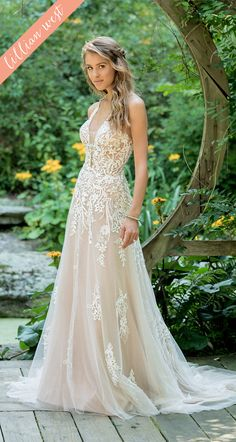 53042c725b2 Style 66010  Illusion Lace Halter A-Line Gown with Sequins