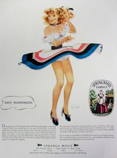 1948 Springmaid Fabrics Vintage Advertisement featuring Fritz Willis Pinup Illustration by RelicEclectic on Etsy #RelicEclectic #VintageAd #BedroomWallArt #FritzWillis #Pinup