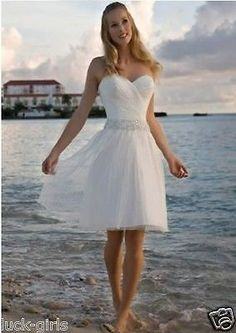 Short Beach White/Ivory Wedding Dress Bridal Gown Custom Size 4 6 8 10 12 14 16 - EXCLUSIVE DEAL! BUY NOW ONLY $79.0