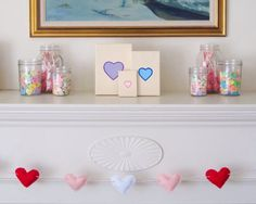 Conversation Hearts GARLAND SMALL Felt by ThreeColumns on Etsy