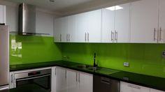 Our Wellywood glass splashback illuminates this Perth kitchen. www.asplashofglass.com.au