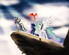Pride Rock by SpaceHunt on deviantART. Twilight Sparkle, Zecora, Princess Luna, Princess Celestia, and Philomina.