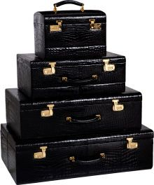 Luxury Accessories:Travel/Trunks, Mark Cross 1970's Shiny Black Alligator 4-piece Trunk Set withBeige Leather & Red Velvet Interior. ... (Total: 4 Items)