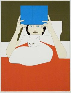"""Cats in Art ~ I had this painting called """"Woman Reading"""" by Will Barnet, in my bedroom for several decades. I love the quiet relationship between the woman and her cat. Reading Art, Woman Reading, Reading Books, Art And Illustration, Ligne Claire, Photo Chat, Barnet, Graphic, Cat Art"""