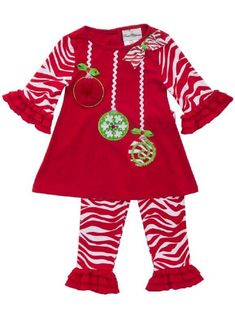 10ab44e6481 Rare Editions Baby Girl First Christmas Ornaments Set months)  Two piece  holiday ornament set with tunic top and leggings.