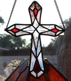The Stained Glass Cross Stained Glass Tattoo, Stained Glass Cookies, Stained Glass Ornaments, Stained Glass Birds, Stained Glass Christmas, Stained Glass Suncatchers, Faux Stained Glass, Stained Glass Designs, Stained Glass Panels