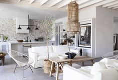 California home with Mediterranean touches by Leanne Ford Ford Interior, Interior Design, Modern Interior, Apartment Therapy, Eldorado Stone, Rattan Pendant Light, Turbulence Deco, Farmhouse Remodel, Concrete Floors