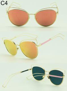 dd10c38aab Rose Gold Round Cat Eye Oversized Sunglasses Women Brand Designer Vintage  Big Ear Alloy Frame Coating Lens Ladies Sun Glasses-in Sunglasses from  Women s ...