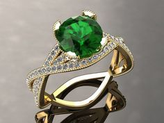 Emerald Engagement Ring Emerald Ring 14k or от WinterFineJewelry