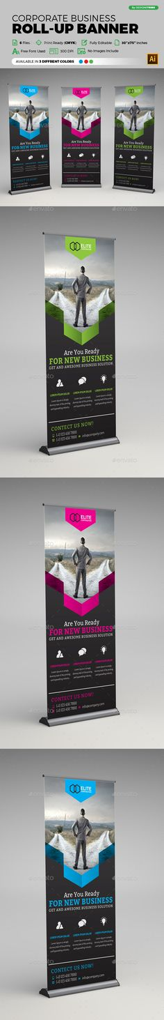 Buy Corporate Business Roll-up Banner by arsalanhanif on GraphicRiver. Corporate Business Roll-up Banner Template. This layout is suitable for any business. Very easy to use and customize. Unique Business Cards, Corporate Business, Corporate Design, Pull Up Banner Design, Roll Up Design, Banner Vector, Banner Template, Conference Branding, Banner Design Inspiration
