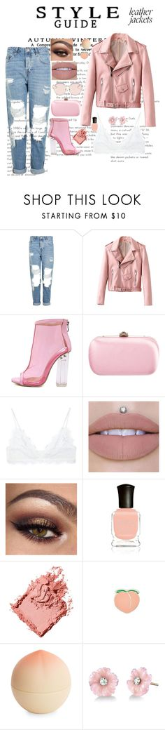 """""""Pink Leather Jacket ❤"""" by maloley-johnson ❤ liked on Polyvore featuring Topshop, WithChic, Gucci, Anine Bing, Deborah Lippmann, Bobbi Brown Cosmetics, PINTRILL, Tony Moly, Irene Neuwirth and N°21"""