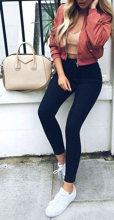#cute #outfits Red Jacket // Cropped Top // Black Skinny Jeans // White Sneakers