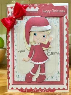 Litte Anabell the Christmas Girl by Suzanne Kavanagh: Christmas card for a niece. I printed onto glossy printable decoupage paper. I used…