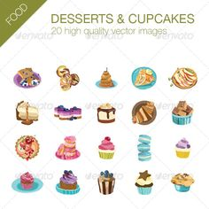 Realistic Graphic DOWNLOAD (.ai, .psd) :: http://jquery.re/pinterest-itmid-1007507915i.html ... Desserts and Cupcakes Pack ... <p>20 high quality vector images of desserts & cupcakes</p> Macaroon, bagels, cake, cheesecake, croissant, cupcake, donuts, muffin, muffins, pancakes, souffle, sweets, tart, toffee apple dessert  ... Realistic Photo Graphic Print Obejct Business Web Elements Illustration Design Templates ... DOWNLOAD :: http://jquery.re/pinterest-itmid-1007507915i.html