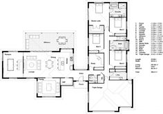 DRHomes ASPECT 41 MODERN - Acreage Inclusions - I like this because it separates public and private pretty well. 4 Bedroom House Plans, New House Plans, Dream House Plans, Dormer Bungalow, Model House Plan, Farmhouse Floor Plans, Home Design Floor Plans, Solar House, House Blueprints