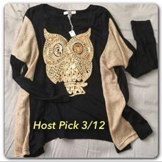 🎉Host Pick🎉 🍂Golden Owl Sequined Top🍂 🍂Amazing quality sweater/shirt. 🍂Gold toned inside sleeves. 🍂Golden sequined owl. 🍂Great for fall and winter. Brand NWT. Loose fitting and comfortable🍂 Fits S/M/L 🍂 Look for model pics on my other listing🍂 Tops