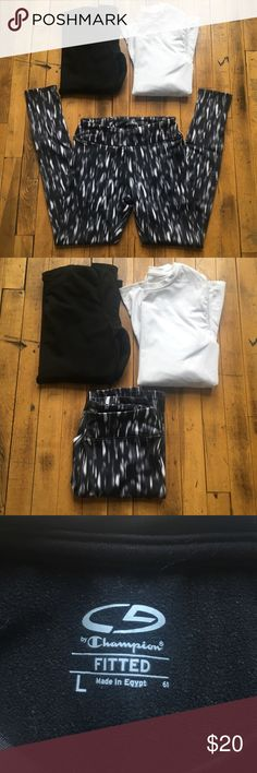 Workout gear bundle! Running gear bundle. Two fleece lined long sleeve Champion shirts- white and black size L but fit a small or medium. ASICS black and white leggings with runners pocket in front. Size S. Great running bundle and look super cute together! Bundle with other items to save!! Asics Pants Leggings
