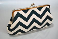 simple summer clutch - chevron navy and white